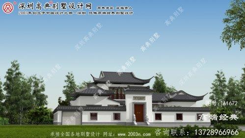 桃源县有韵味双层中式别墅外观设计效果图。