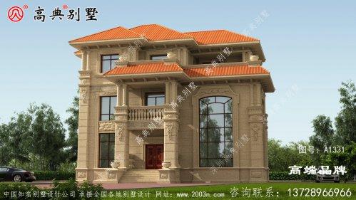 欧式石材别墅外观图,外观精致大气