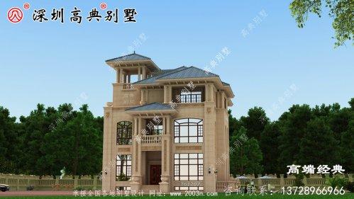 经典气派农村别墅设计图,提高了居住的安全舒适性