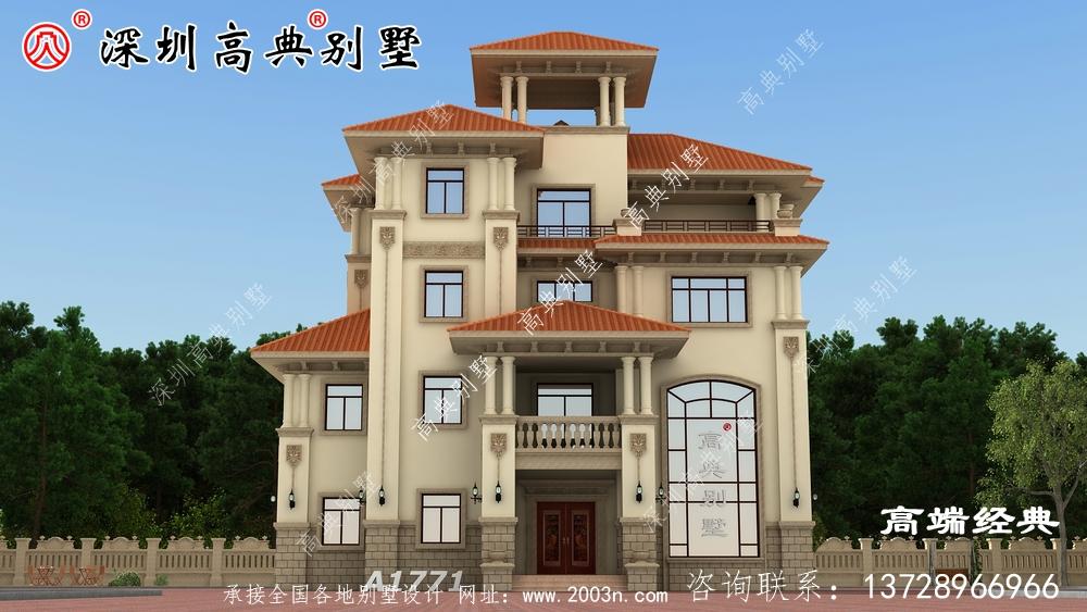 带阳光房的四层自建别墅图,实用上档次,农村建房新选择