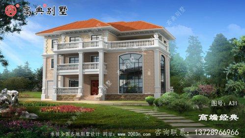 农村二层半斜顶欧式别墅设计图,